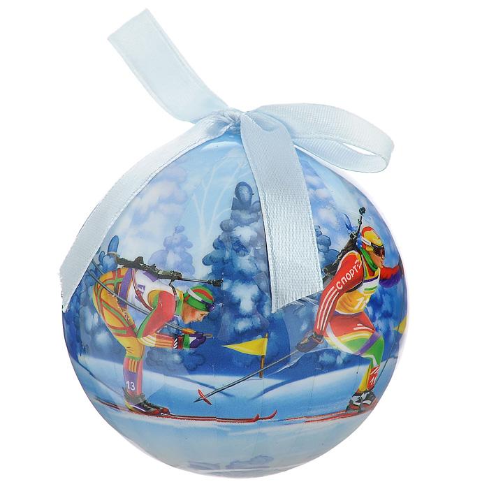 Елочное украшение Шар. Биатлон, диаметр 10 см. 2034920349Оригинальное подвесное украшение Шар. Биатлон, выполненное из пластмассы, прекрасно подойдет для праздничного декора новогодней ели. Благодаря плотному корпусу изделие никогда не разобьется, поэтому вы можете быть уверены, что оно прослужит вам долгие годы. С помощью атласной ленточки голубого цвета украшение можно повесить на праздничную елку. Елочная игрушка - символ Нового года. Она несет в себе волшебство и красоту праздника. Создайте в своем доме атмосферу веселья и радости, украшая новогоднюю елку нарядными игрушками, которые будут из года в год накапливать теплоту воспоминаний.Характеристики:Материал: пластмасса (вспененный полистирол), текстиль. Диаметр шара: 10 см. Размер упаковки: 11 см х 11 см х 15 см. Производитель: Россия. Изготовитель: Китай. Артикул: 20349.