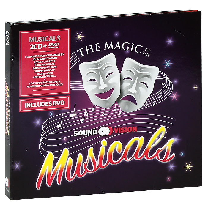DVD содержит:   The Magic Of The Musicals Live Concert:  01. One Night Only 02. Something's Coming Tonight Blow, Gabriel, Blow0З. Losing My Mind Not While I'm Around Send In The Clowns04. Do You Hear The People Sing? Empty Chairs At Empty Tables I Dreamed A Dream05. The Heat Is On In Saigon The Last Night Of The World Bui-Doi06. They're Playing Our Song I Hope I Get It One07. Mama, A Rainbow In One Of My Weaker Moments08. Anthew You And I09. The Time Warp That'll Be The Day Great Balls Of Fire10. Tell Me It's Not True Leaning On A Lamp Post Once You Lose Your Heart11. Five Guys Named Мое Early In The Morning Is You Is Or Is You Ain't My Baby? 12. I Am What I AmPicture Format: PAL 4x3 Format: DVD-5Time: 73 mins. Color Mode: Color Region Code: 0 (All)Language And Audio Content: English / Dolby Digital 2.0 Subtitles: No