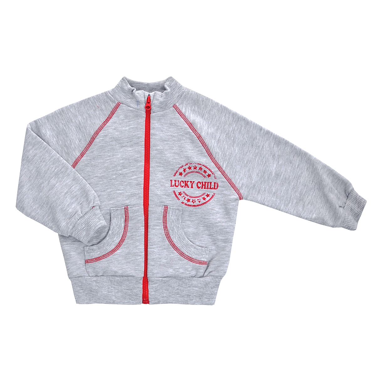 Толстовка детская Lucky Child, цвет: серый. 8-15. Размер 110/116