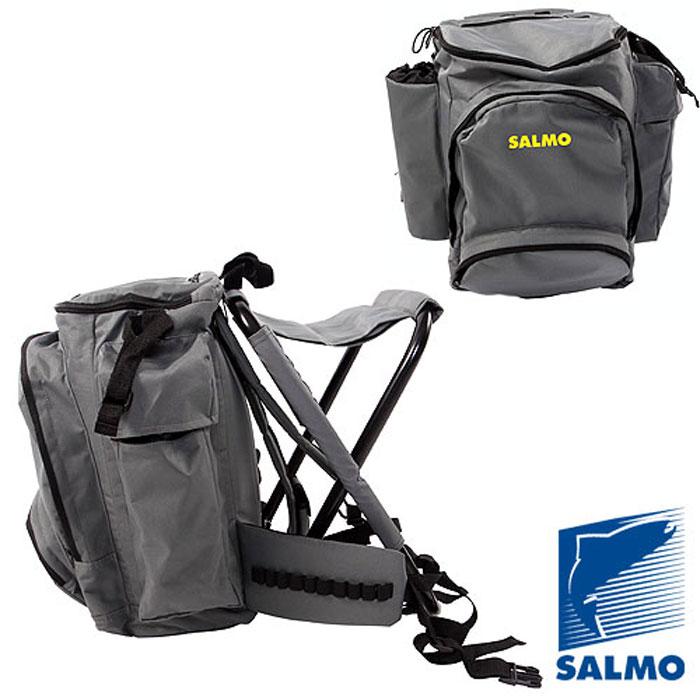 Стул-рюкзак Salmo Back Pack с карманом на молнииH-2066Функциональный и удобный рюкзак с раскладным стулом в комплекте Salmo Back Pack - это необходимый атрибут для рыбалки и, конечно же, путешествий. Легкий раскладной стул для рыбаков со специальной конструкцией позволяет использовать его на неровной поверхности. Стул изготовлен из легкой, прочной стальной рамы. Он удобно крепится к спинке рюкзака (от рюкзака не отстегивается). Удобная анатомическая спина и плечевые ремни - одно из преимуществ данной модели рюкзака. Плечевые ремни снабжены утягивающими застежками. Рюкзак состоит из основного отделения, которое затягивается на молнию, карманов по бокам, передний карман, который закрываются на молнию.Модель без разгрузочного пояса. Характеристики:Материал: металл, пластик, полиэстер. Цвет: серый. Высота стула: 47 см. Размер рюкзака: 50 см х 36 см х 20 см.Размер упаковки: 58 х 45 х 12. Что взять с собой в поход?. Статья OZON Гид