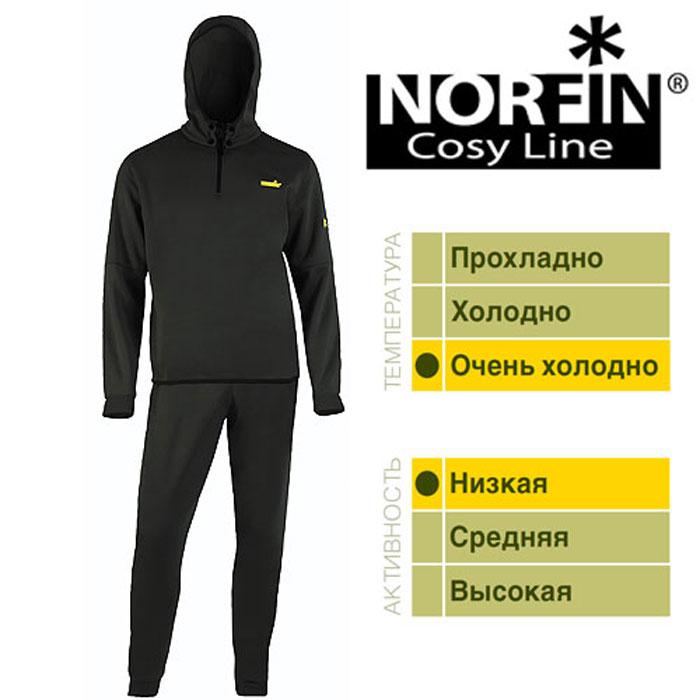 Комплект термобелья мужской Norfin Cosy Line, цвет: черный. 300710. Размер S (44/46)300710Термобелье Norfin Cosy Line.Нижнее толстое раздельное термобелье. Мягкий, легкий и дышащий материал обеспечивает комфортные условия для тела при пониженных температурах. Оно надевается только на тонкое термобелье. После интенсивной работы или продолжительного передвижения, испаринедостаточно 15 – 20 минут для выхода наружу, при условии, что верхняя одежда – мембрана. Тело становится сухим и не замерзнет на холоде. Поэтому, под термобелье ни в коем случае не поддевается хлопчатобумажная нижняя одежда, которая впитывает влагу и остается влажной длительное время.Особенности:Капюшон крепится к кофте на кнопках.Фиксатор, стягивающий капюшон.Надежная застежка-молния.Пластиковые кнопки. Эластичный пояс.Эластичные манжеты на рукавах и штанах.