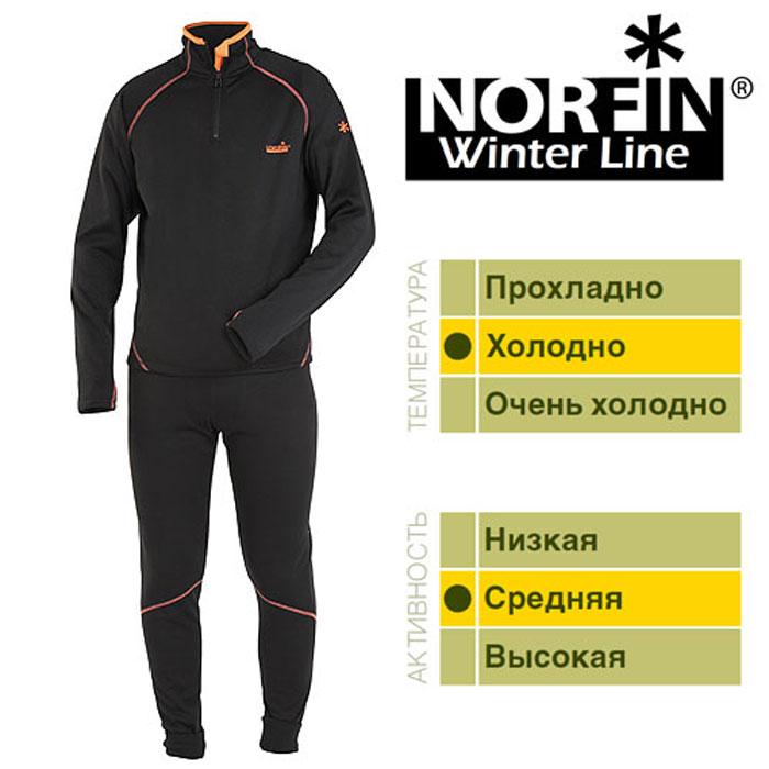 Комплект термобелья мужской Norfin Winter Line, цвет: черный, оранжевый. 302500. Размер S (44/46)302500Термобелье Norfin Winter Line. Дышащее раздельное термобелье предназначено для среднейфизической активности. Мягкий, очень приятный для тела материал,можно одевать на голое тело. Белье скроено таким образом, чтобыне стеснять движений тела - оно имеет максимальную эластичностьв необходимых зонах.Особенности: Очень приятный и мягкий материал.Надежная застежка-молния.Эластичный пояс.Эластичные манжеты на штанах.Прорезь на рукаве под большой палец.