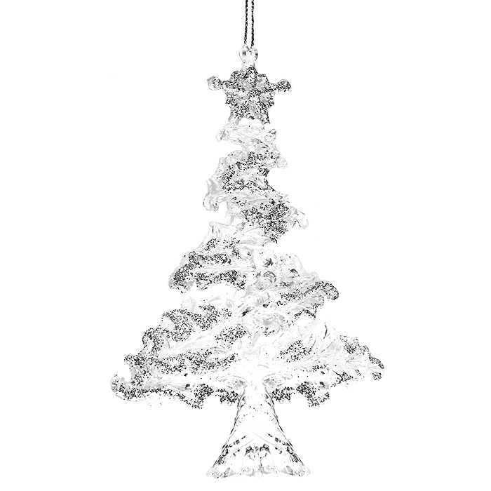 Новогоднее подвесное украшение Елочка. 3067430674Оригинальное новогоднее украшение выполнено из прозрачного пластика в виде елочки, украшенной серебристыми блестками. С помощью специальной петельки украшение можно повесить в любом понравившемся вам месте. Но, конечно же, удачнее всего такая игрушка будет смотреться на праздничной елке.Новогодние украшения приносят в дом волшебство и ощущение праздника. Создайте в своем доме атмосферу веселья и радости, украшая всей семьей новогоднюю елку нарядными игрушками, которые будут из года в год накапливать теплоту воспоминаний. Коллекция декоративных украшений из серии Magic Time принесет в ваш дом ни с чем несравнимое ощущение волшебства! Характеристики:Материал: пластик, текстиль. Размер украшения: 14 см х 10 см х 3 см. Артикул: 30674.