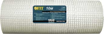 Лента стеклотканевая фасадная FIT, 1 м х 50 м11615Лента стеклотканевая интерьерная FIT применяется для :армирования поверхностей стен и потолков при штукатурных работах и в системах внешнего утепления;восстановления растрескавшихся штукатурки;заделки мест примыкания оконных и дверных коробок к стенам;армирования наливных полов. Характеристики: Материал: стекловолокно. Размеры: 1 м х 50 м. Размер ячейки: 5 мм х 5 мм. Плотность: 110 гр/м2 Размеры упаковки: 100 см х 18 см х 18 см.