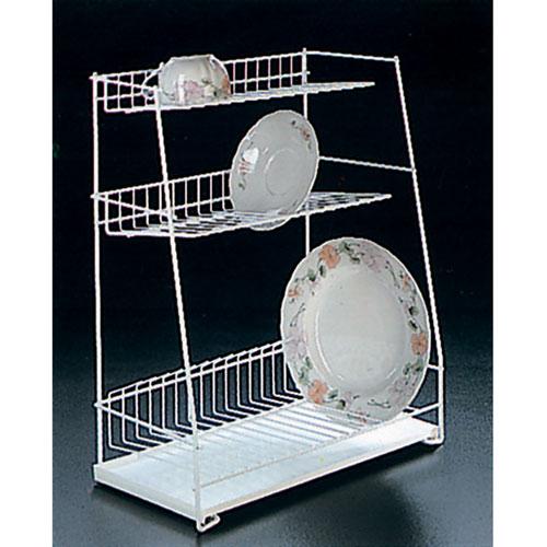 """Трехуровневая сушилка для посуды """"Metaltex"""" выполнена из стали с полимерным покрытием белого цвета. Сушилка может быть установлена как на столе, так и подвешена на стену при помощи крючков (не входят в комплект). В комплект входит пластиковый поддон. Характеристики: Материал: сталь с полимерным покрытием, пластик. Цвет: белый. Размер: 44 см x 22 см x 50 см. Артикул: 32.43.44."""
