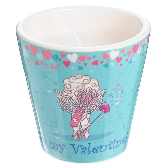 Декоративный подсвечник Be my Valentine!, со свечой, цвет: голубой. 31306 стикер декоративный автомобильный phantom my car сердечки