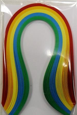 Набор бумаги для квиллинга, основные цвета, полоски 0,5 см х 30 см, 5 цветов, 100 штAH8105007Квиллинг - искусство изготовления плоских или объемных композиций из скрученных в спиральки длинных и узких полосок бумаги. Из бумажных спиралей создают цветы и узоры, которые затем используют обычно для украшения открыток, альбомов, подарочных упаковок, рамок для фотографий. Это простой и очень красивый вид рукоделия, не требующий больших затрат. Изделия из бумажных лент можно использовать также как настенные украшения или даже бижутерию. Характеристики:Материал: бумага. Цвет: красный, оранжевый, желтый, синий, зеленый. Количество в упаковке: 100 шт. Размер 1 полоски: 0,5 см х 30 см. Размер упаковки: 15 см х 10 см х 0,5 см.