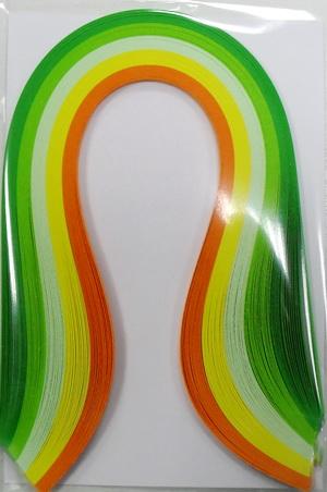 Набор бумаги для квиллинга, оттенки зеленого, полоски 0,3 х 30 см, 5 цветов, 100 штAH8105010Квиллинг - искусство изготовления плоских или объемных композиций из скрученных в спиральки длинных и узких полосок бумаги. Из бумажных спиралей создают цветы и узоры, которые затем используют обычно для украшения открыток, альбомов, подарочных упаковок, рамок для фотографий. Это простой и очень красивый вид рукоделия, не требующий больших затрат. Изделия из бумажных лент можно использовать также как настенные украшения или даже бижутерию. Характеристики:Материал: бумага. Цвет: темно-зеленый, зеленый, светло-зеленый, желтый, оранжевый. Количество в упаковке: 100 шт. Размер 1 полоски: 0,3 см х 30 см. Размер упаковки: 15 см х 10 см х 0,5 см.