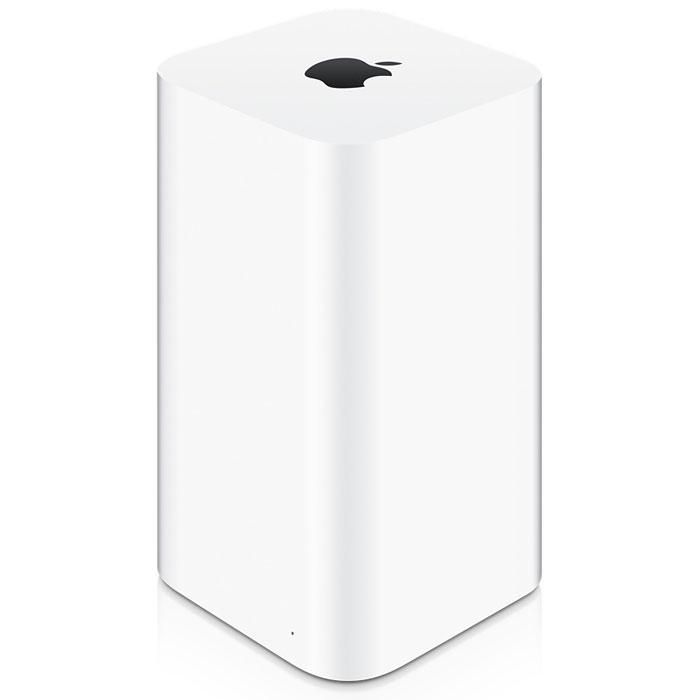 Apple AirPort Extreme 802.11ac (ME918RU/A) Wi-Fi точка доступаME918RU/AСверхскоростная базовая станция Wi-Fi Apple AirPort Extreme с одновременной поддержкой двух частотных диапазонов представляет собой идеальное устройство для организации беспроводного доступа в Интернет дома, в школе или в офисе. Она поставляется с Wi-Fi-технологией следующего поколения 802.11ac и обеспечивает высокоскоростной беспроводной доступ к сети для компьютеров Mac, PC и Wi-Fi устройств, таких как iPhone, iPad, iPod touch и Apple TV.Технология 802.11ac для развертывания супербыстрой сети Wi-Fi:В основе AirPort Extreme лежит технология 802.11ac, которая обеспечивает суперскоростное соединение и сильный сигнал без помех для сетей Wi-Fi. Поскольку это устройство одновременно работает в диапазонах частот 2,4 ГГц и 5 ГГц, беспроводные устройства будут автоматически подключаться к сети в наиболее оптимальном диапазоне, гарантируя максимальную производительность.Дизайн, обеспечивающий максимальную производительность:Антенны AirPort Extreme расположены в верхней части корпуса, который стал значительно выше, что позволяет транслировать сетевой сигнал с большей высоты. Число антенн также было увеличено. Теперь их шесть: три антенны с рабочим диапазоном 2,4 ГГц и три антенны с рабочим диапазоном 5 ГГц. В сочетании с технологией 802.11ac это позволяет подключаться к сети быстрее, на большем расстоянии и при большей мощности сигнала, чем прежде.Простота настройки в iOS и OS X:Подсоедините к устройству AirPort Extreme кабельный или DSL-модем и воспользуйтесь встроенным помощником по настройке, для того чтобы создать новую беспроводную сеть буквально в несколько прикосновений к экрану вашего iPhone, iPad, или iPod touch. Если Вы пользуетесь компьютером Mac, воспользуйтесь встроенной AirPort-Утилитой. Настройка выполняется невероятно легко и быстро.Совместный доступ к Вашему жесткому диску или принтеру:Устройство AirPort Extreme позволит превратить любой внешний жесткий диск USB в диск с защищенным доступ