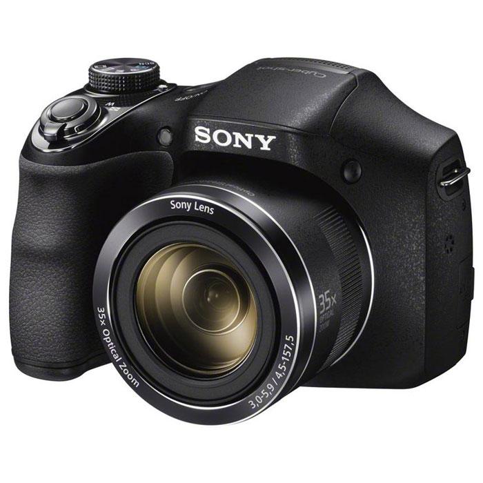 Sony Cyber-Shot DSC-H300 цифровая фотокамераDSCH300.RU3Камера Sony Cyber-shot DSC-H300 с мощным зумом и потрясающим качеством изображения.Компактная и удобная в использовании камера Cyber-shot H300 позволяет снимать невероятно четкие фотографии и видео в формате HD. Мощный 35-кратный оптический зум и функция Sweep Panorama раскрывают возможности съемки, а интеллектуальный автоматический режим Intelligent AUTO помогает достичь превосходных результатов без усилий.Максимальное приближение к месту действия:Путешествия, дикая природа и многое другое. Снимайте все что угодно с помощью 35-кратного оптического зума, который аккуратно убирается в корпус камеры.Шире взгляд:Вы не упустите самое главное: широкоугольный объектив позволяет включить в кадр еще больше интересных деталей, когда вы фотографируете в отпуске или во время вечеринок, либо делаете групповые портреты.Используйте функцию спецэффектов:Добавляйте спецэффекты к фотографиям, видеофильмам и панорамам без необходимости скачивать файлы и работать в специальных программах.Не стоит доверяться случаю:Функция Intelligent Auto распознает самые разные сюжеты и автоматически регулирует настройки, чтобы вы всякий раз получали прекрасные изображения с высокой деталировкой.Снимайте четкие HD-фильмы:Снимайте четкие HD-видеоклипы с высоким уровнем деталировки и потом просматривайте отснятый материал на экране HD-телевизора.Портреты лучше чем в жизни:Камера может автоматически убирать нежелательные пятна на коже, отбеливать зубы, делать шире глаза и уменьшать блеск на лбу при портретной съемке.Снимайте панорамы прямо на ходу:Нажмите на кнопку затвора и проведите камерой вдоль снимаемого сюжета: вы получите сверхширокие панорамы ландшафтов, уличных сценок и многолюдных вечеринок.Снимайте со вспышкой еще эффективнее:Функция Advanced Flash делает ярче места в кадре, которые обычно остаются в тени, например, на фотографии, где люди оказались далеко от камеры.Размер матрицы: 1/2.3 Формат кадра: 4:3, 16:9
