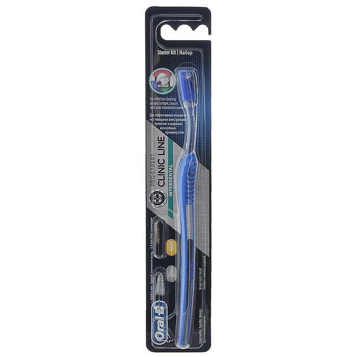 Oral-B Межзубный набор Interdental Starter Kit. Межзубная щетка, 2 сменных ершикаIDK-75034153Межзубный набор Oral-B Interdental Starter Kit состоит из межзубной щетки, одного конического ершика и одного цилиндрического ершика. Набор незаменим при наличии широких межзубных промежутков, различных ортодонтических конструкций, особенно при брекет-системах, а также при имплантах и мостовидных протезах.Благодаря эргономичному дизайну и ребристой поверхности с упором для большого и указательного пальцев, щетка надежно фиксируется в руке, обеспечивая уверенный и точный контроль в полости рта.Благодаря возможности изменения угла ершика на 180 градусов - вы сможете легко достигнуть всех труднодоступных участков полости рта и конструкций, а длинная узкая шейка щетки обеспечивает доступ к самым отдаленным участкам полости рта. Цилиндрический ершик предназначен для более узких промежутков, а конический для более широких.Уникальный и простой замок надежно фиксирует ершик в щетке и упрощает его замену. Характеристики:Длина щетки: 18,5 см. Диаметр цилиндрического ершика: 3 мм - 6,5 мм. Диаметр конического ершика: 2,7 мм. Длина ершиков: 2,5 см. Изготовитель: Мексика. Артикул: 2093801. Товар сертифицирован.