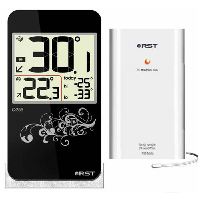 """RST02255 - это оригинальная модель термометра с беспроводным термодатчиком. Дизайн устройства выполнен в модном стиле iPhone с использованием """"кожаной"""" текстуры. Термометр оснащен системой автоматического контроля за минимальной и максимальной температурой за текущие сутки."""