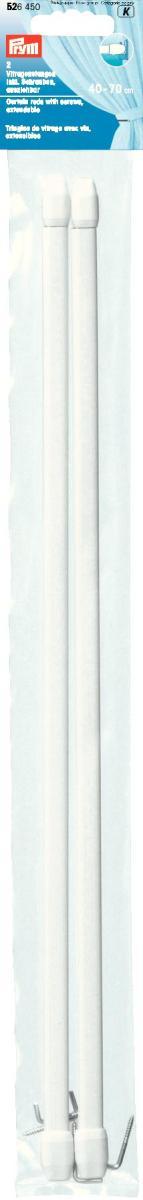 Длина варьируется по ширине окна, что очень удобно и функционально. Идеальны   для пластиковых и деревянных окон, когда нет возможности или желания   занавешивать окно гардиной. В комплекте идут крючки с резьбой для крепления   витражного карниза.     Характеристики: Материал: металл, пластик. Длина: 40 см - 70 см. Количество в упаковке: 2 шт. Размер упаковки: 41 см х 5 см х 1 см.