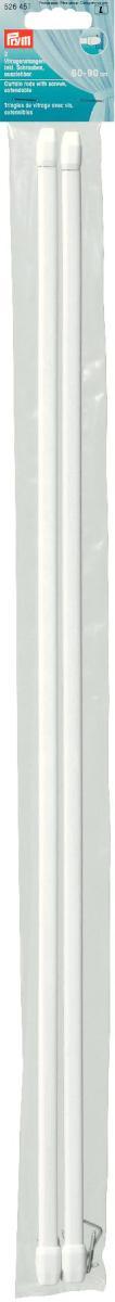 Штанги для витражей и окон Prym, телескопические, длина 60-90 см, 2 шт526451Длина варьируется по ширине окна, что очень удобно и функционально. Идеальны для пластиковых и деревянных окон, когда нет возможности или желания занавешивать окно гардиной. В комплекте идут крючки с резьбой для крепления витражного карниза. Характеристики:Материал: металл, пластик. Длина: 60 см - 90 см. Количество в упаковке: 2 шт. Размер упаковки: 61 см х 5 см х 1 см.