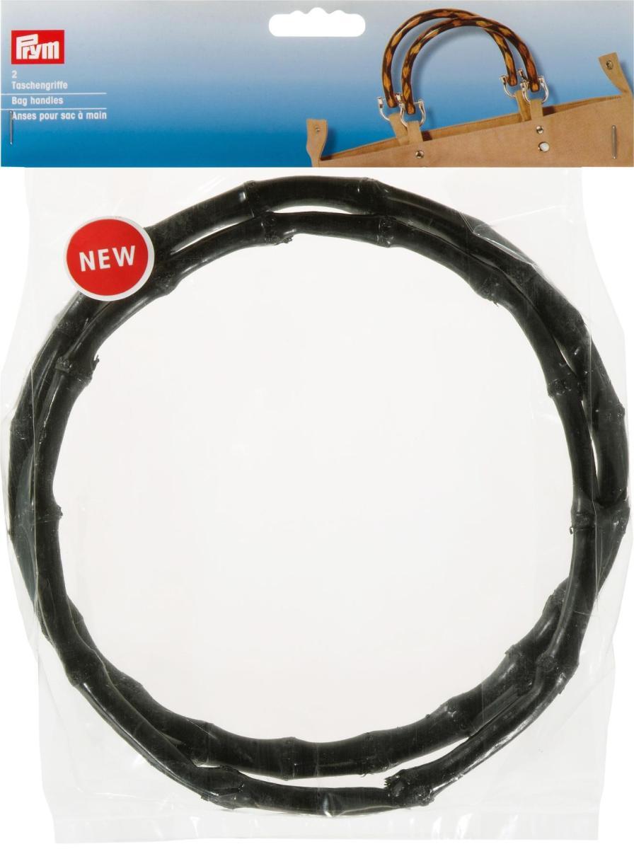 """Ручки для сумок """"Йоко"""", бамбуковые, диаметр 22 см, цвет: черный, Prym"""