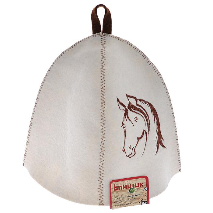 Шапка для бани и сауны Лошадь. А334А334Шапка для бани и сауны Лошадь изготовлена из фетра белого цвета и оформлена вышивкой с изображением головы лошади коричневого цвета. Шапка банная Лошадь - это незаменимый аксессуар для любителей попариться в русской бане и для тех, кто предпочитает сухой жар финской бани. Необычный дизайн изделия поможет сделать ваш отдых более приятным и разнообразным. Шапка снабжена петелькой для подвешивания.Банная шапка с вышивкой символа года - Лошади — это изысканный и практичный подарок высокого качества. Характеристики:Материал: фетр (шерсть). Диаметр основания шапки: 34 см. Высота шапки: 24 см. Производитель: Россия. Артикул: А334.