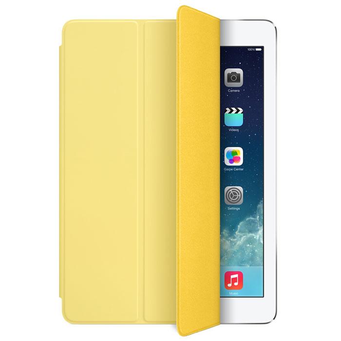Apple iPad Smart Cover чехол для iPad Air, YellowMF057ZM/AЛёгкая и прочная обложка Apple iPad Smart Cover полностью обновлена, чтобы соответствовать дизайну iPad Air. Она защищает дисплей планшета, не закрывая заднюю часть алюминиевого корпуса. Поэтому Ваш iPad выглядит именно как iPad — только он лучше защищён.Обложка изготовлена из мягкого прочного полиуретана и доступна в шести ярких цветах. А её мягкая подкладка из микрофибры того же цвета помогает поддерживать экран в чистоте. Крепление обложки идеально прилегает к корпусу планшета, а магниты надёжно удерживают её. При открытии чехла-обложки iPad Air автоматически выходит из режима сна, а при закрытии моментально возвращается в режим сна.Обложка Smart Cover может служить подставкой для набора текста. Сложите её, чтобы установить iPad Air с удобным наклоном. Продуманная конструкция обложки Smart Cover также позволяет сложить её и превратить в идеальную подставку для общения в FaceTime и просмотра фильмов.