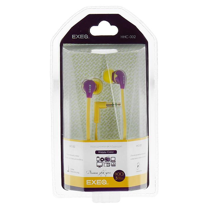 EXEQ HHC-002, Magenta Yellow наушникиHHC-002 LAEXEQ HHC-002 - эффектный дизайн наушников EXEQ HHC-002 из серии Happy Color с яркими цветовыми сочетаниями никого не оставит равнодушным. Маленькие, но громкие излучатели этих наушников-вкладышей обеспечивают плотное прилегание и чистый звук с мощными басами. Кабель длиной 130 см позволяет не только с удобством слушать музыку от плеера или телефона, но так же подключать наушники к Вашему ПК, а плоская конструкция кабеля не позволит ему запутаться. Прочный L-образный штекер с позолоченным 3.5 мм джеком позволит комфортно подключить наушники EXEQ HHC-002 ко многим портативным устройствам.Дизайн в цвете:Happy Color - серия наушников Exeq с самыми яркими и сочными цветовыми решениями. Одним из ярких представителей серии являются наушники EXEQ HHC-002. Модель имеет оригинальный дизайн, основным отличием которого является удачная комбинация самых ярких и модных цветов. В ассортименте 4 варианта самых оригинальных цветовых комбинаций – выбирайте то, что соответствует вашему настроению: стильное сочетание ночных красок - черно-голубые наушники, комбинация цветов российского флага -красно-сине-белые наушники, комбинация цветов для модных покупателей - желто-сиреневые наушники, оригинальное сочетание для любителей всего необычного - красно-желто-зеленые наушники.Качество звука:Несмотря на компактный и миниатюрный размер наушники EXEQ HHC-002 обеспечивают чистую и сбалансированную передачу музыки любого направления. Благодаря наличию неодимовых магнитов и широкому частотному диапазону в 20 Гц- 22000 Гц наушники способны передавать самые четкие звуки на разных вариантах громкости. Благодаря эргономичной форме и наличию мягких силиконовых амбушюр динамики EXEQ HHC-002 плотно прилегают к ушной раковине и обеспечивают полное погружение в мир любимых мелодий. В комплект входят 3 пары амбушюр разных размеров – подберите наушники подходящие именно Вам.Практичный провод «лапша»:Наушники EXEQ HHC-002 имеют практичный провод типа «лапша» - 