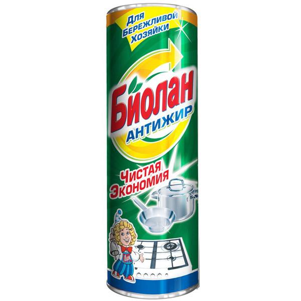 """Порошкообразное чистящее средство Биолан """"Антижир"""" предназначено для чистки ванн, раковин, кухонных плит, а также фаянсовых, эмалированных и керамических поверхностей. Активные вещества в составе порошка мягко и быстро расщепляют загрязнения, оставляя после себя только приятный аромат.   Характеристики: Состав: анионные поверхностно-активные вещества (менее 5%), фосфаты (менее 5%), ароматизирующая добавка (менее 5%). Вес: 400 г. Размер упаковки: 6,5 см х 6,5 см х 19,5 см. Артикул: 153-6. Товар сертифицирован."""