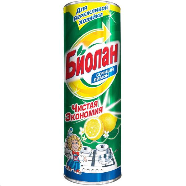 """Порошкообразное чистящее средство Биолан """"Сочный лимон"""" предназначено для чистки ванн, раковин, кухонных плит, а также фаянсовых, эмалированных и керамических поверхностей. Активные вещества в составе порошка мягко и быстро расщепляют загрязнения, оставляя после себя только приятный аромат.   Характеристики: Состав: анионные поверхностно-активные вещества (менее 5%), фосфаты (менее 5%), ароматизирующая добавка (менее 5%). Вес: 400 г. Размер упаковки: 6,5 см х 6,5 см х 19 см. Артикул: 150-6. Товар сертифицирован."""