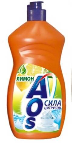 Жидкость для мытья посуды AOS Лимон, 500 мл392-3Жидкость для мытья посуды AOS Лимон эффективно удаляет любые загрязнения даже в холодной воде, отлично смывается водой. Благодаря новой сбалансированной формуле средство отлично пенится, придает посуде кристальный блеск, после ополаскивания не оставляет разводов. Защищает кожу рук. Характеристики: Объем: 500 мл. Артикул: 392-3. Товар сертифицирован.
