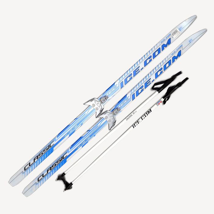 Лыжный комплект Ice.com Classic step, цвет: синий, крепление 75 мм. Длина 150 смCLS75P 150Лыжный комплект Ice.com Classic step (с насечкой) предназначен для активного катания и прогулок по лыжне как классическим стилем, так и коньковым (свободным) ходом. Особенности: Скользящая поверхность из экструдированного полиэстера; Облегченный деревянный клин c воздушными каналами; Модель со степ насечкой, не требующей нанесения мазей; Палки 100% углеволокно; Крепление 75 мм. Характеристики: Длина лыжи: 150 см. Геометрия: 46-46-46. Длина палок: 100 см. Крепления: 75 мм. Материал: пластик, дерево, углеволокно. Цвет: синий. Размер упаковки: 150 см х 12 см х 15 см.