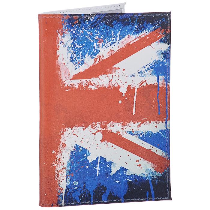 Обложка для паспорта Британский флаг в краске. OK190