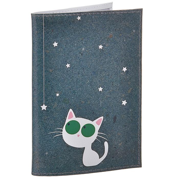 Обложка для паспорта Кошка и звезды. OK216 обложки mitya veselkov обложка для паспорта рыжие кошки