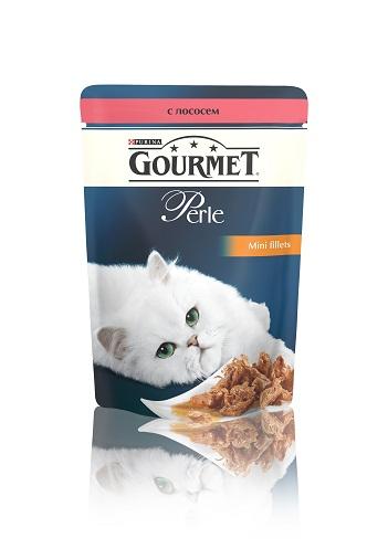 Консервы для кошек Gourmet Perle, мини-филе с лососем, 85 г12222480Ваша кошка - настоящий гурман, и порой ей сложно угодить. Корм Gourmet Perle - это изысканное угощение с превосходным вкусом, которым ваша кошка будет наслаждаться каждый день. Ваш гурман оценит нежнейшие кусочки с мясом или рыбой, приготовленные в аппетитном соусе.Корм Gourmet Perle - изысканное угощение на каждый день.Рекомендации по кормлению: Суточная норма: 3-4 пакетика в день для взрослой кошки (средний вес 4 кг), в два приема.Данная суточная норма рассчитана для умеренно активных взрослых кошек, живущих в условиях нормальной температуры окружающей среды. В зависимости от индивидуальных потребностей кошки норма кормления может быть скорректирована для поддержания нормального веса вашей кошки.Подавайте корм комнатной температуры. Следите, чтобы у вашей кошки всегда была чистая, свежая питьевая вода.Условия хранения: Закрытый пакетик хранить в сухом прохладном месте. После открытия продукт хранить в холодильнике максимум 24 часа.Состав: мясо и продукты переработки мяса, экстракт растительного белка, рыба и продукты переработки рыбы (в том числе лосось 4%), минеральные вещества, сахара, витамины, красители.Гарантируемые показатели: влажность 79,0%, белок 14.0%, жир 2,5%, сырая зола 2,2%, сырая клетчатка 0,5%Добавленные вещества: МЕ/кг: витамин A: 800; витамин D3: 120; витамин Е: 18; мг/кг: железо: 9; йод: 0,2; медь: 0,8; марганец: 1,8; цинк: 15.Вес: 85 г.Товар сертифицирован.