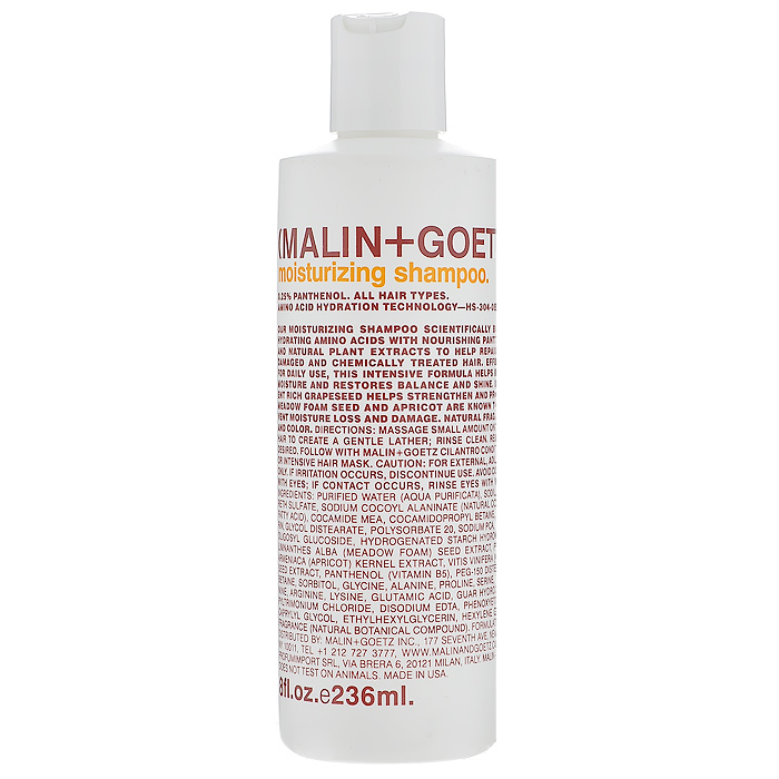 Malin+Goetz Шампунь увлажняющий, для всех типов волос, 236 млMG052Увлажняющий шампунь Malin+Goetz содержит аминокислоты, питательный пантенол и натуральные растительные экстракты, которые бережно очищают, ухаживают и восстанавливают сухие, поврежденные или химически обработанные волосы. Интенсивно увлажняет и питает, не содержит силиконы или воск, которые утяжеляют волосы и забивают поры. Мягко очищает волосы, поддерживает баланс кожи головы баланс, сохраняя влагу и блеск.Помогает восстановить сухие, поврежденные и химически обработанные волосы. Не содержит хлорид натрия и подходит дляхимически выпрямленных волос. Мягкая и эффективная формула подходит для ежедневного использования для женщин и мужчин, для всех типов волос, включая тонкие и нормальные волосы. Характеристики:Объем: 236 мл. Производитель: США. Товар сертифицирован.