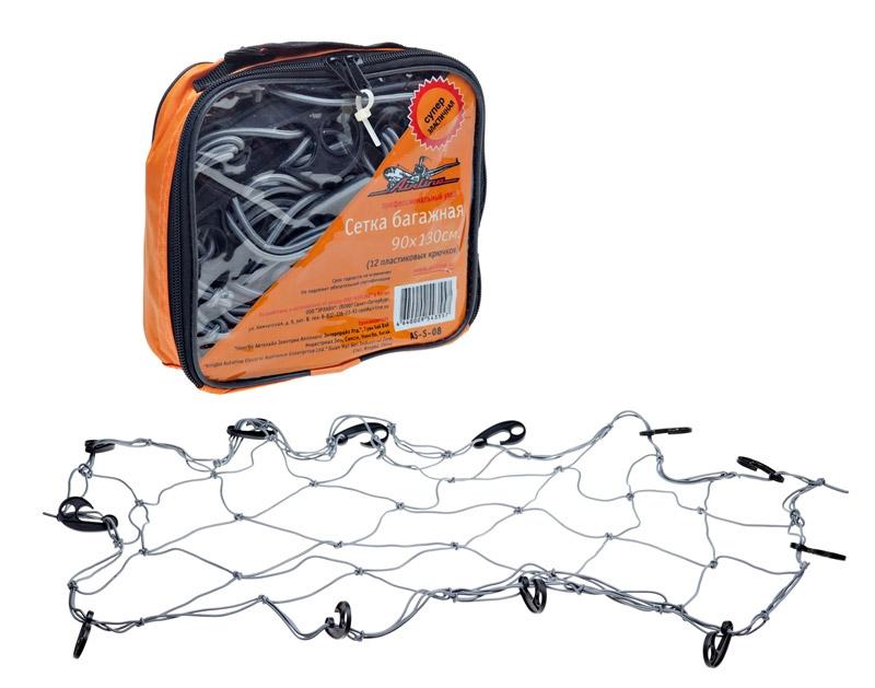 Сетка багажная Airline, 90 х 130 см, 12 крючковAS-S-08Сетка предназначена для удобной транспортировки крупногабаритных грузов. Благодаря высококачественному материалу сетка обладает высокой эластичностью, не вытягивается, не деформируется, надежно фиксирует груз. Сетка оснащена 12 пластиковыми крючками, что облегчает ее крепление. Может использоваться как в багажнике, так и для закрепления груза на крыше автомобиля.Характеристики:Материал: пластик, резина, текстиль. Количество крючков: 12 шт. Размер сетки: 90 см х 130 см. Размер упаковки: 19 см х 17 см х 5 см.