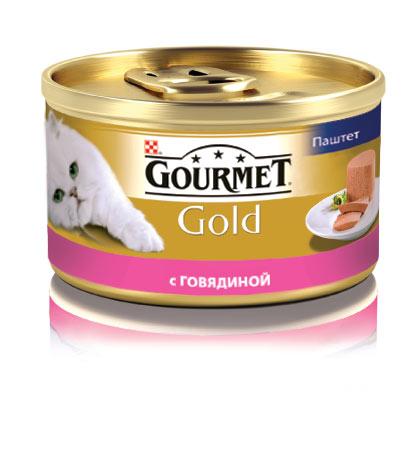 Консервы для кошек Gourmet Gold, паштет с говядиной, 85 г12215249Корм Gourmet Gold консервированный полнорационный для взрослых кошек.Рекомендации по кормлению: кормите кошку 2 раза в день из расчета 4 банки в день. Индивидуальные потребности животного могут отличаться, поэтому норма кормления должна быть скорректирована для поддержания оптимального веса вашей кошки. Для беременных и кормящих - кормление без ограничений.Давайте корм комнатной температуры.Следите, чтобы у вашей кошки всегда была чистая, свежая питьевая вода. Хранить в сухом прохладном месте. Состав: мясо и продукты переработки мяса (говядины мин.4%), продукты переработки злаков, минеральные вещества, сахара, витамины. Добавленные вещества МЕ/кг: Витамин А: 1440; витамин D3: 220 мг/кг: железо: 10; йод: 0,2; медь: 0,9; марганец: 1,9; цинк: 10.Гарантируемые показатели: влажность 77%, белок 11%, жир 7%, сырая зола 3%, сырая клетчатка 0,1%.Вес: 85 г.Товар сертифицирован.