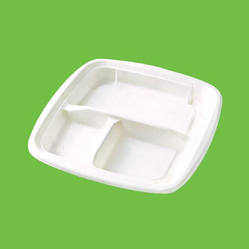 Набор тарелок Gracs, биоразлагаемых, трехсекционных, цвет: белый, 19 см х 19 см, 10 шт