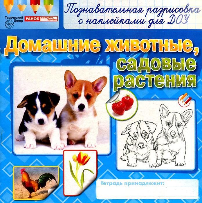 Домашние животные, садовые растения. Раскраска с наклейками