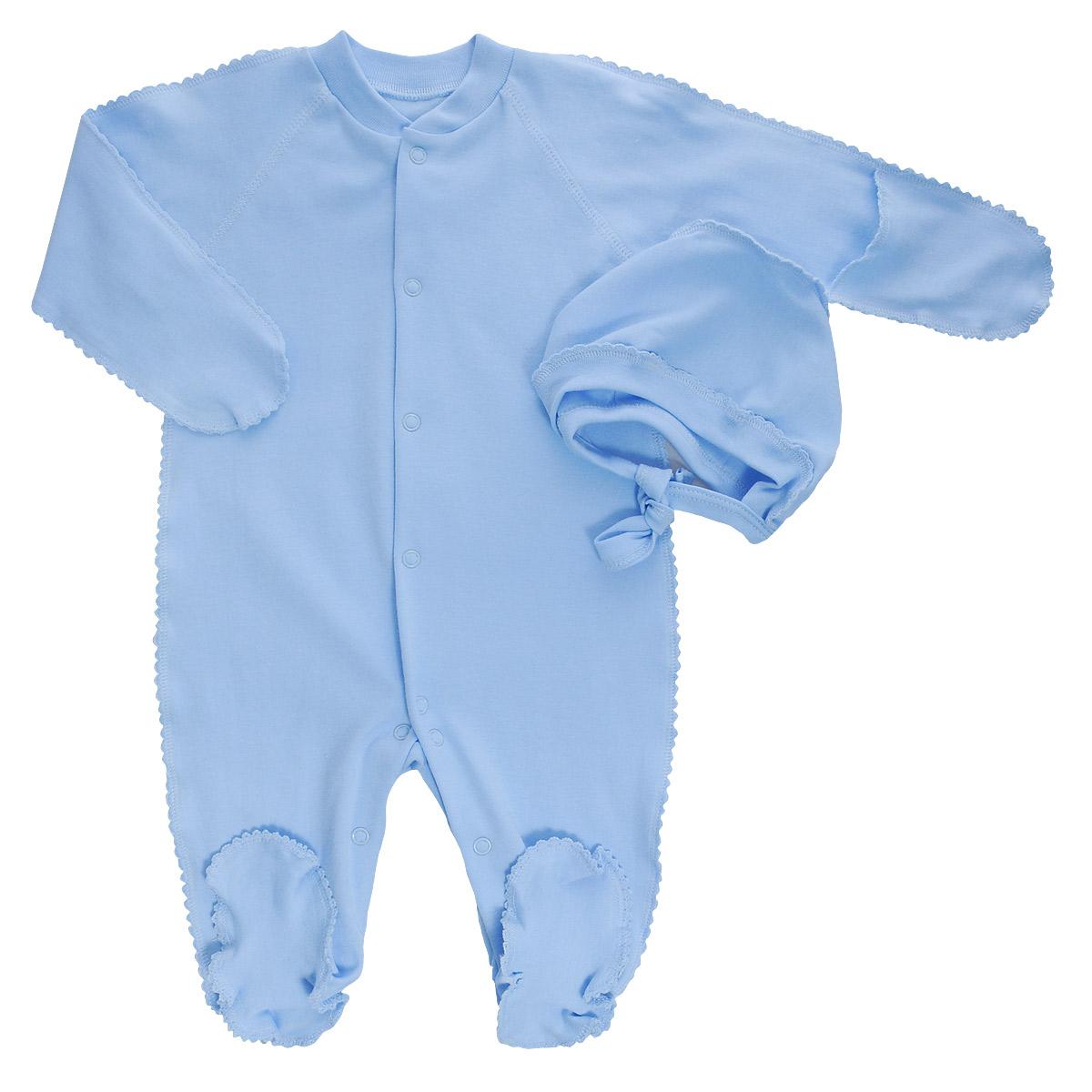 Комплект детский Фреш Стайл: комбинезон, чепчик, цвет: голубой. 37-5231. Размер 56, от 0 до 3 месяцев37-5231Комплект Фреш Стайл, состоящий из комбинезона и чепчика, идеально подойдет вашему ребенку. Изготовленный из 100% хлопка, он необычайно мягкий и легкий, приятный на ощупь, не раздражает нежную кожу ребенка и хорошо вентилируется.Комбинезон с воротником-стойкой, длинными рукавами-реглан и закрытыми ножками имеет удобные застежки-кнопки по всей длине и на ластовице, которые помогают легко переодеть ребенка или сменить подгузник. Комбинезон имеет рукавички, с помощью которых ручки могут быть открыты или спрятаны и ваш ребенок не поцарапает себя.Мягкий чепчик защищает еще не заросший родничок, щадит чувствительный слух малыша, а мягкая резиночка, не сдавливая голову малыша,прикрывает ушки и предохраняет от теплопотерь. Швы элементов комплекта выполнены наружу и отделаны красивой декоративной строчкой. Комплект полностью соответствует особенностям жизни малыша в ранний период, не стесняя и не ограничивая его в движениях.