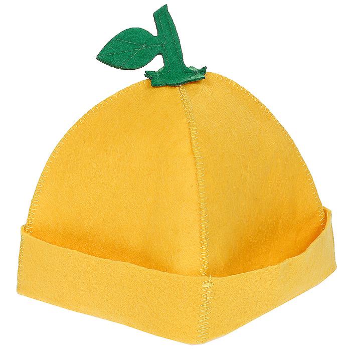 Шапка для бани и сауны Лимончик, цвет: желтый наборы аксессуаров для бани proffi набор подарочный для бани и сауны звезда веник березовый шапка банная