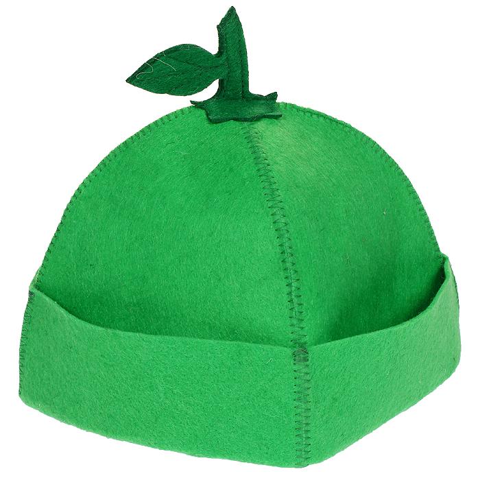 Шапка для бани и сауны Яблочко, цвет: зеленый