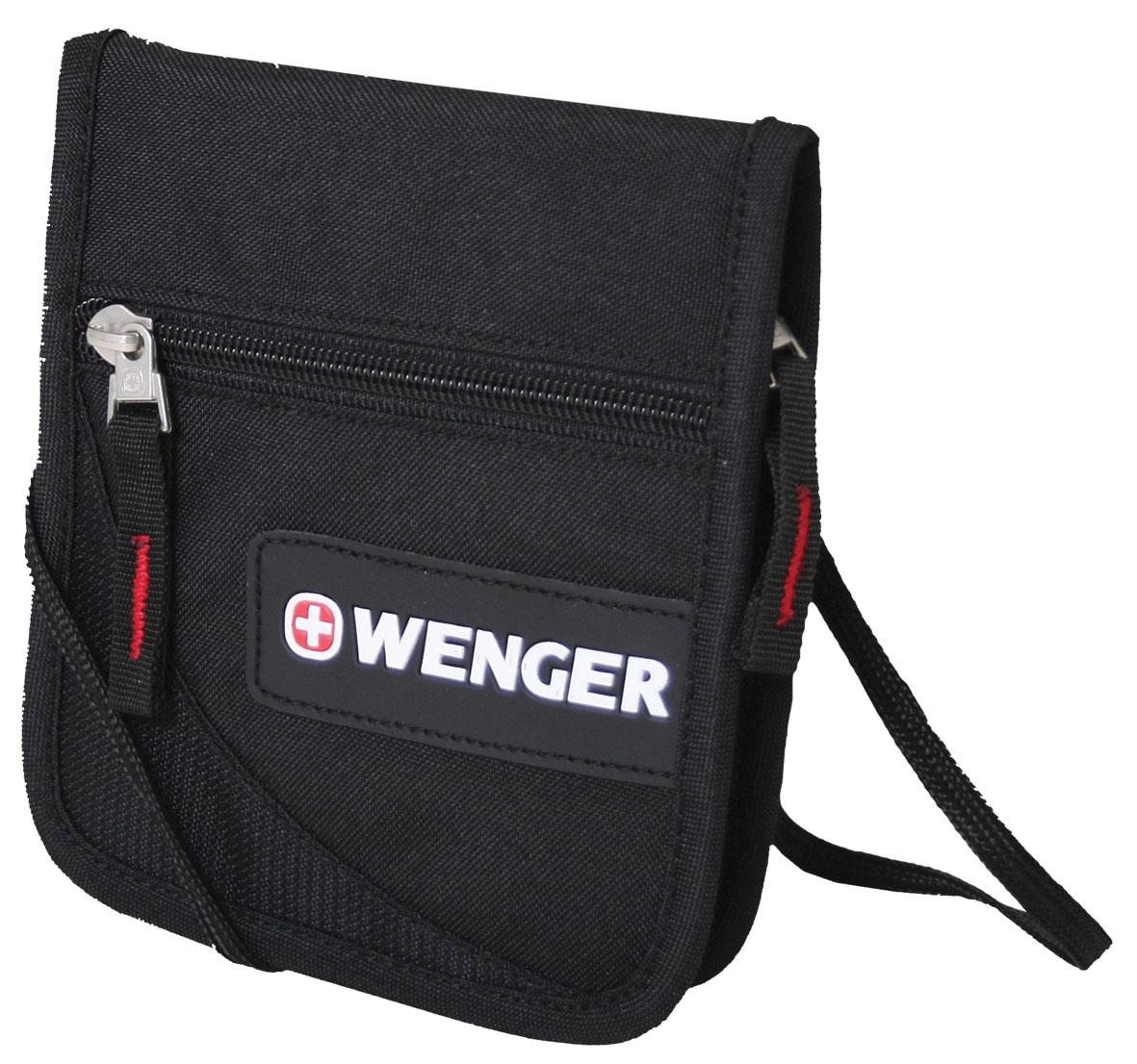 Кошелёк на шею WENGER, черный, полиэстер 600D, 14х2х16 см