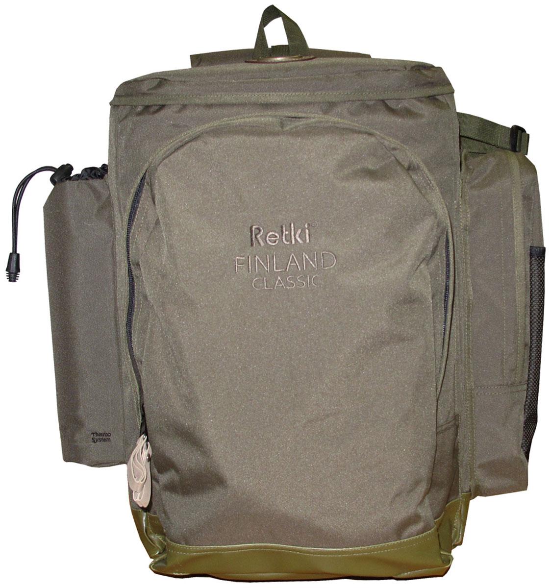 Рюкзак Retki Finland Classic, цвет: оливковый, объем 40 л2636Самый прочный многофункциональный рюкзак со встроенным стульчиком. Стул складной без спинки с рюкзаком и плечевыми ремнями, в сложенном состоянии представляет из себя рюкзак на трубчатой стальной раме. У рюкзака дышащая и поддерживающая спинка , а так же устойчивый стульчик со смягченным сидением. Сбоку имеется теплоизоляционный карман для фляжки, а на плечевой лямке – отделение для мобильного телефона. Так же много функциональных отделений, в т.ч. для блесен, походного топорика и сухого пайка. Передний карман сконструирован для походной горелки. На поясе располагается карман для патронов. Брызгонепроницаемые замки-молнии, а так же водонепроницаемое дно. Характеристики:Материал: полиэстер Ripstop, пластик, металл. Размер рюкзака: 52 см x 38 см x 15 см. Объем рюкзака: 40 л. Цвет: оливковый. Размер упаковки: 59 см х 41 см х 10 см. Артикул: 2636.