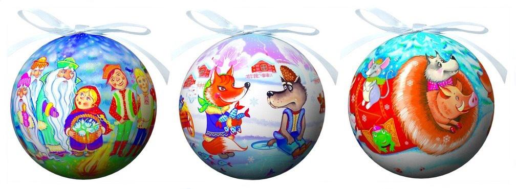 Набор елочных украшений Сказки, диаметр 9 см, 4 шт. 20146