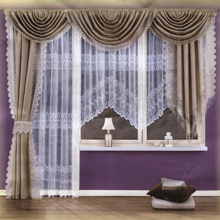 Комплект штор Wisan Arina, на ленте, цвет: льняной, высота 250 см5994 льнянойКомплект штор Wisan Arina, выполненный из полиэстера, великолепно украсит любое окно. Комплект состоит из тюля для окна, тюля для балконной двери, двух штор, трех ламбрекенов и одного подхвата. Шторы, ламбрекены и подхват выполнены из ткани льняного цвета и декорированы кружевной отделкой. Тюль выполнен из белой ткани с кружевным узором.Тонкое плетение, оригинальный дизайн и нежная цветовая гамма привлекут к себе внимание и органично впишутся в интерьер комнаты. Все предметы комплекта - на шторной ленте для собирания в сборки. Характеристики: Материал: 100% полиэстер. Цвет: льняной. Размер упаковки: 36 см х 26 см х 10 см. Артикул: 5994.В комплект входят: Штора большая- 1 шт. Размер (Ш х В): 145 см х 250 см. Штора малая - 1 шт. Размер (Ш х В): 145 см х 180 см. Тюль для окна - 1 шт. Размер (Ш х В): 400 см х 160 см. Тюль для балконной двери - 1 шт. Размер (Ш х В): 200 см х 250 см. Ламбрекен малый - 2 шт. Размер (Ш х В): 150 см х 180 см. Ламбрекен большой - 1 шт. Размер (Ш х В): 220 см х 150 см. Подхват - 1 шт. Фирма Wisan на польском рынке существует уже более пятидесяти лет и является одной из лучших польских фабрик по производству штор и тканей. Ассортимент фирмы представлен готовыми комплектами штор для гостиной, детской, кухни, а также текстилем для кухни (скатерти, салфетки, дорожки, кухонные занавески). Модельный ряд отличает оригинальный дизайн, высокое качество. Ассортимент продукции постоянно пополняется.