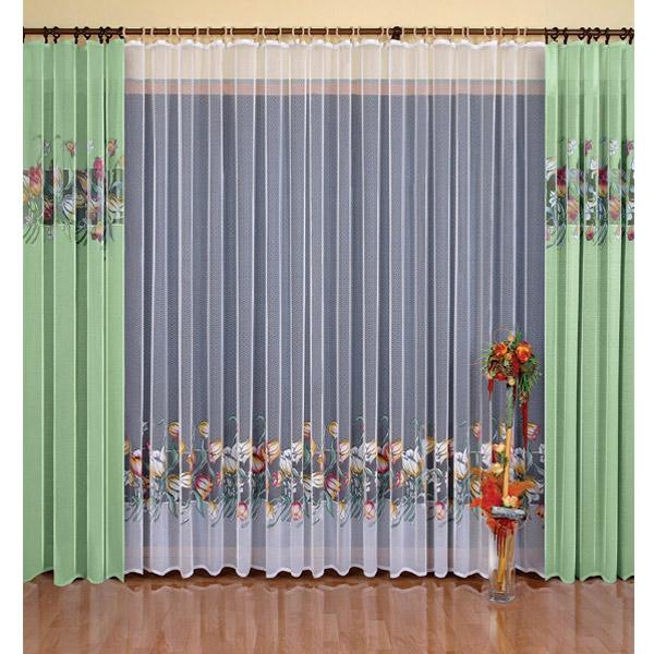 Комплект штор Wisan Gustawa, на ленте, цвет: зеленый, высота 250 см комплект штор wisan lara на ленте цвет оранжевый белый высота 250 см