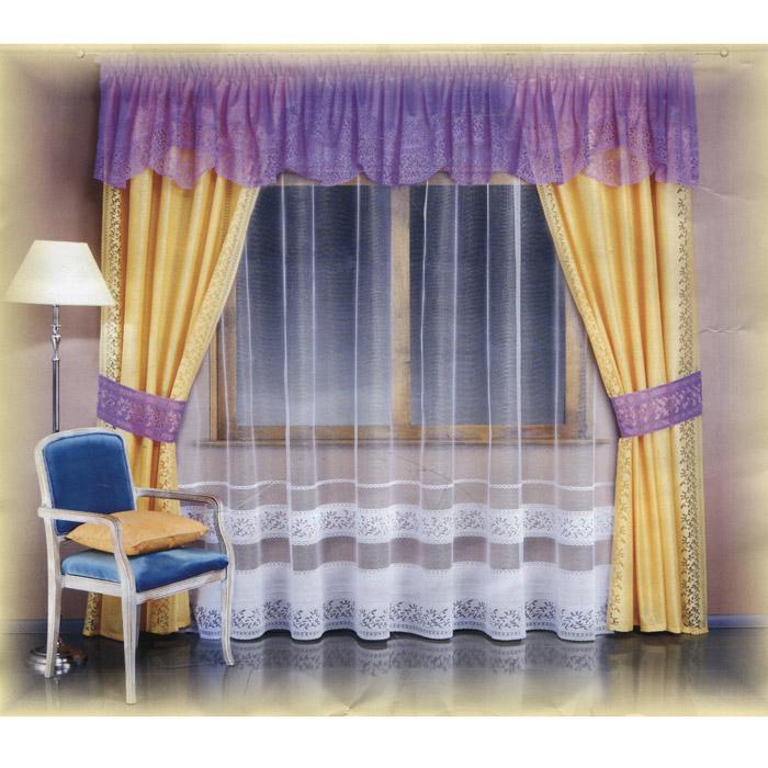 Комплект штор Wisan Wiki, на ленте, цвет: кремовый, сиреневый, высота 250 см комплект штор wisan lara на ленте цвет оранжевый белый высота 250 см