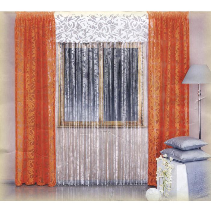 Комплект штор Wisan Galina, на ленте, цвет: оранжевый, белый, высота 250 см комплект штор wisan lara на ленте цвет оранжевый белый высота 250 см