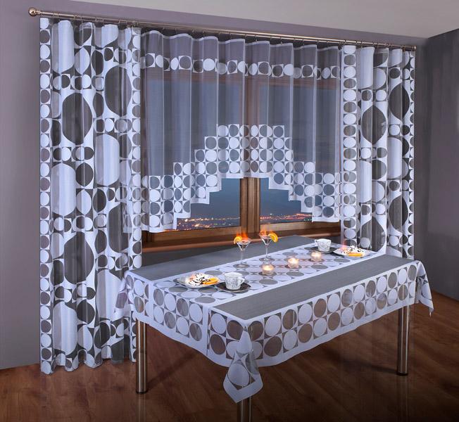 Комплект штор для кухни Wisan, на ленте, цвет: белый, черный, высота 250 см. 3384 комплект штор wisan lara на ленте цвет оранжевый белый высота 250 см