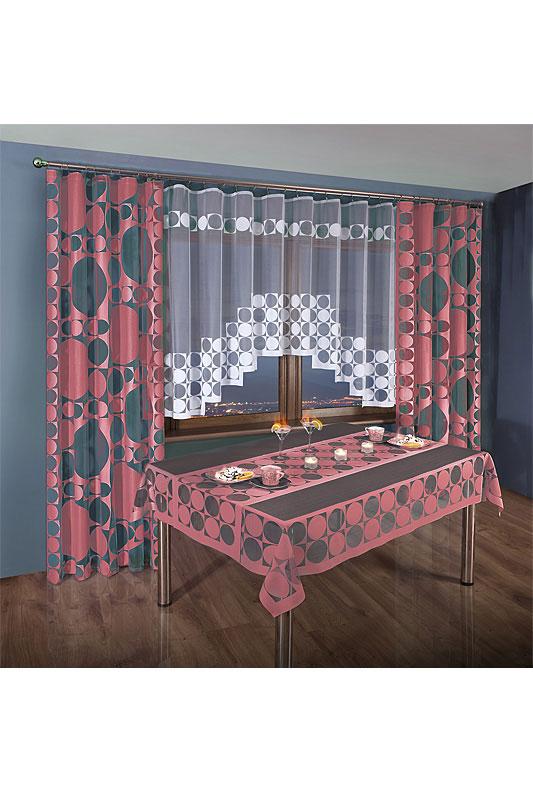 Комплект штор для кухни Wisan, на ленте, цвет: бордовый, белый, высота 250 см. 3384 комплект штор wisan lara на ленте цвет оранжевый белый высота 250 см
