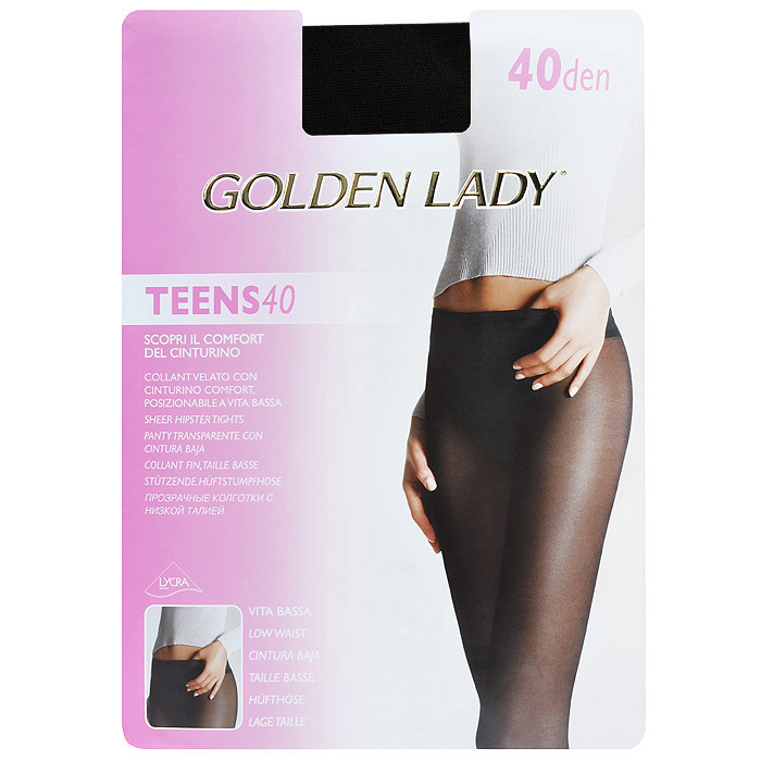 Колготки женские Golden Lady Teens 40 Vita Bassa, цвет: черный. SSP-016969. Размер 4Teens 40 Vita Bassa_NeroПрозрачные колготки Golden Lady Teens 40 Vita Bassa с заниженной талией, мягкий ремешок. Без штанишек, удобные швы, гигиеничная ластовица, невидимый носок.Уважаемые клиенты! Обращаем ваше внимание на то, что упаковка может иметь несколько видов дизайна. Поставка осуществляется в зависимости от наличия на складе.