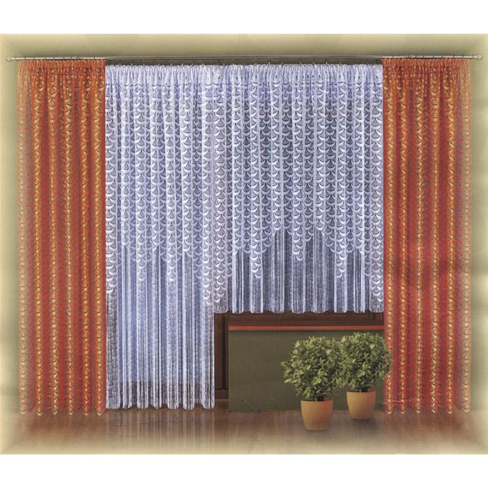 Комплект штор Wisan Lara, на ленте, цвет: оранжевый, белый, высота 250 см
