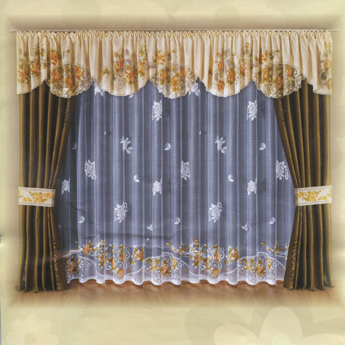 Комплект штор Wisan, на ленте, цвет: бежевый, оливковый, белый, высота 250 см. W007 комплект штор wisan lara на ленте цвет оранжевый белый высота 250 см