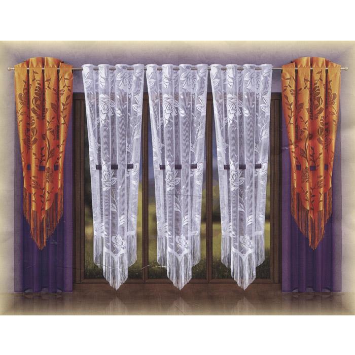 Комплект штор Wisan Valentina, на петлях, цвет: белый, фиолетовый, оранжевый, высота 260 смW028Роскошный комплект штор Wisan Valentina, выполненный из полиэстера, великолепно украсит любое окно. Комплект состоит из двух штор и трех тюлей. Шторы выполнены из сетчатой фиолетовой ткани и украшены декоративным полотном оранжевого цвета с цветочным рисунком и бахромой по низу. Тюли выполнены из полупрозрачной ткани белого цвета с цветочным рисунком и украшены бахромой по низу. Предметы комплекта имеют прорези, в которые продеваются декоративные фиолетовые ленты.Тонкое плетение, оригинальный дизайн и яркая цветовая гамма привлекут к себе внимание и органично впишутся в интерьер комнаты. Все предметы комплекта оснащены петлями для крепления на круглый карниз. Характеристики: Материал: 100% полиэстер. Цвет: белый, фиолетовый, оранжевый. Размер упаковки: 40 см х 30 см х 9 см. Артикул: W028.В комплект входят: Штора - 2 шт. Размер (Ш х В): 125 см х 260 см. Тюль - 3 шт. Размер (Ш х В): 125 см х 250 см. Фирма Wisan на польском рынке существует уже более пятидесяти лет и является одной из лучших польских фабрик по производству штор и тканей. Ассортимент фирмы представлен готовыми комплектами штор для гостиной, детской, кухни, а также текстилем для кухни (скатерти, салфетки, дорожки, кухонные занавески). Модельный ряд отличает оригинальный дизайн, высокое качество. Ассортимент продукции постоянно пополняется.